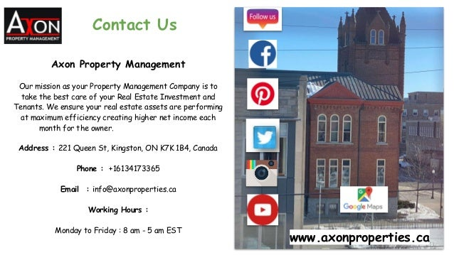 Contact Us Axon Property Management Our mission as your Property Management Company is to take the best care of your Real ...
