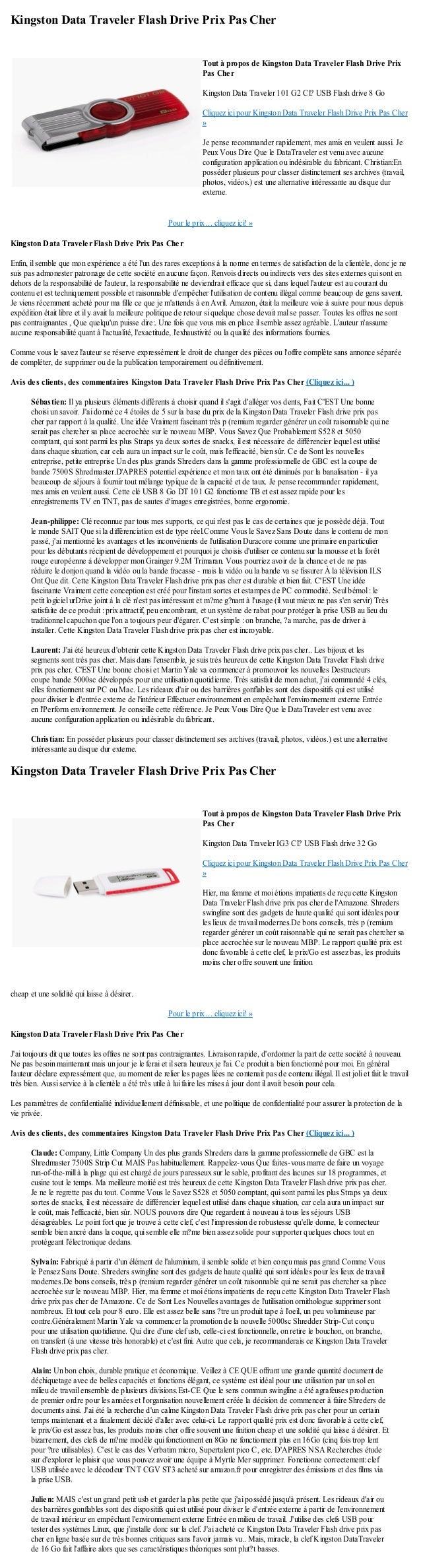Kingston Data Traveler Flash Drive Prix Pas CherPour le prix ... cliquez ici! »Kingston Data Traveler Flash Drive Prix Pas...