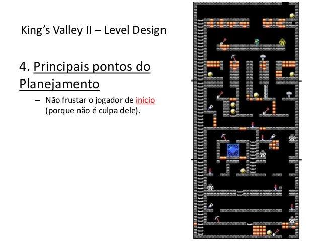 4. Principais pontos do Planejamento – Não frustar o jogador de início (porque não é culpa dele). King's Valley II – Level...