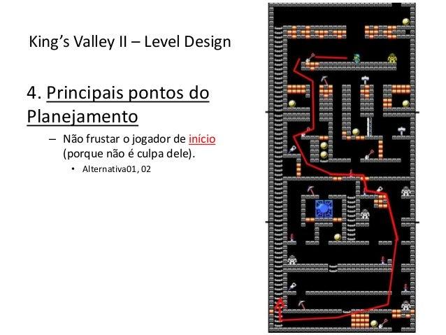 4. Principais pontos do Planejamento – Não frustar o jogador de início (porque não é culpa dele). • Alternativa01, 02 King...