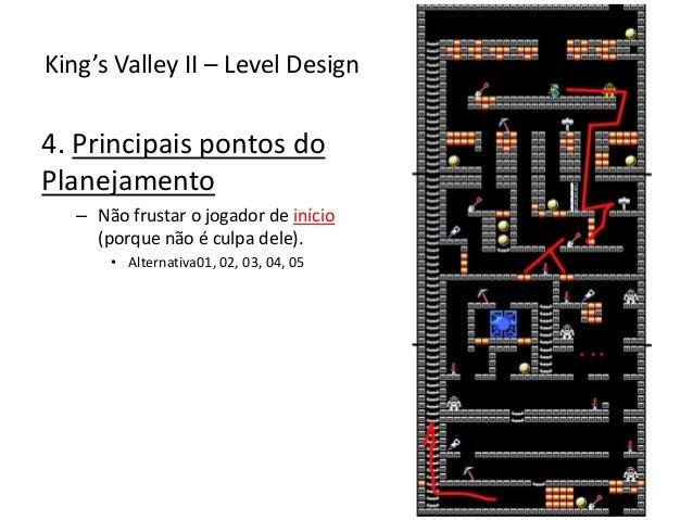 4. Principais pontos do Planejamento – Não frustar o jogador de início (porque não é culpa dele). • Alternativa01, 02, 03,...