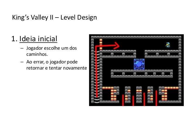 1. Ideia inicial – Jogador escolhe um dos caminhos. – Ao errar, o jogador pode retornar e tentar novamente King's Valley I...