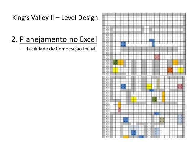 2. Planejamento no Excel – Facilidade de Composição Inicial King's Valley II – Level Design