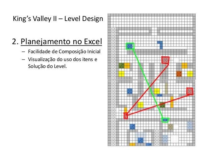 2. Planejamento no Excel – Facilidade de Composição Inicial – Visualização do uso dos itens e Solução do Level. King's Val...