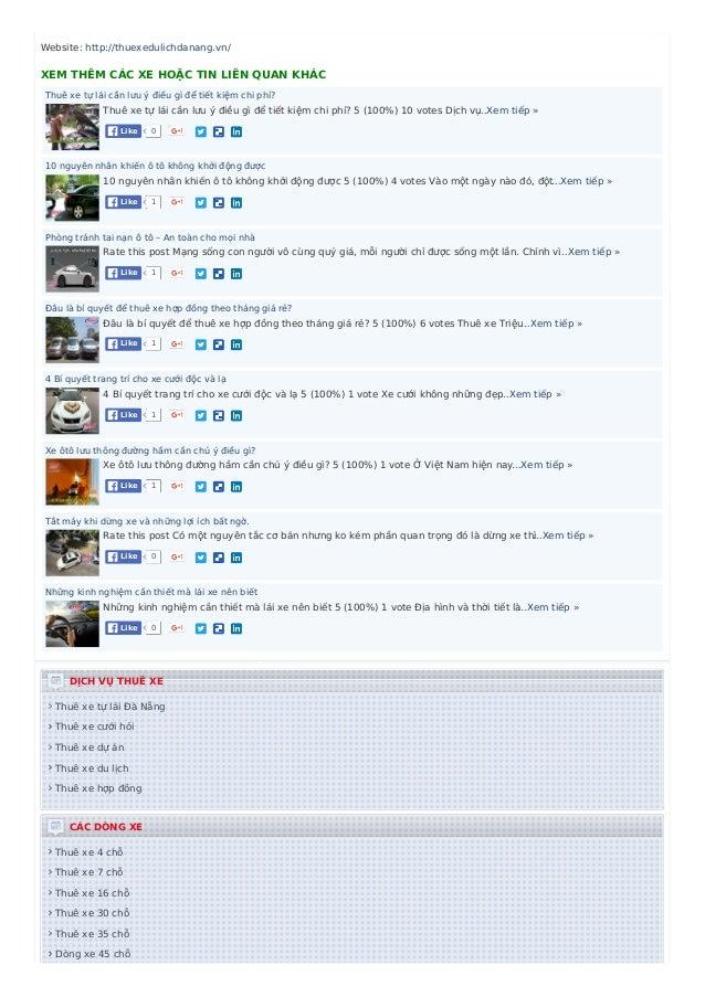 Website: http://thuexedulichdanang.vn/ XEM THÊM CÁC XE HOẶC TIN LIÊN QUAN KHÁC Thuê xe tự lái cần lưu ý điều gì để tiết ki...