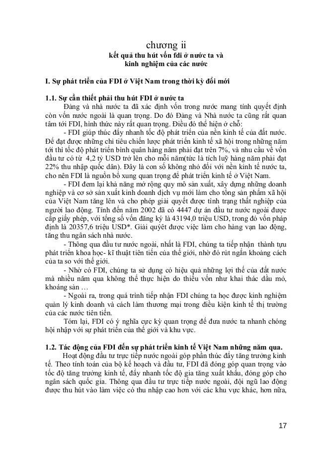 chương ii  kết quả thu hút vốn fdi ở nước ta và  kinh nghiệm của các nước  I. Sự phát triển của FDI ở Việt Nam trong thời ...