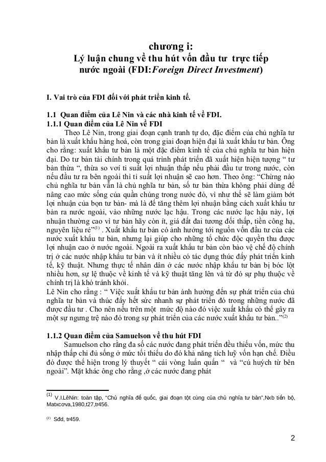 chương i:  Lý luận chung về thu hút vốn đầu tư trực tiếp  nước ngoài (FDI:Foreign Direct Investment)  I. Vai trò của FDI đ...