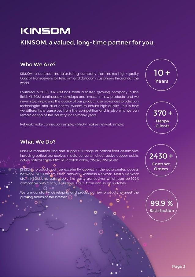 KINSOM 2018 catalog - 100G 40G 10G 1G Optical Transceivers