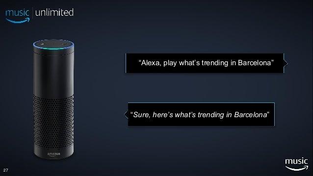 """27 """"Alexa, play what's trending in Barcelona"""" """"Sure, here's what's trending in Barcelona"""""""