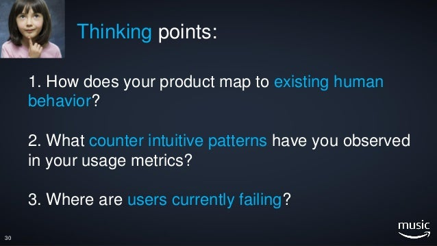 1. How does your product map to existing human behavior? 2. What counter intuitive patterns have you observed in your usag...