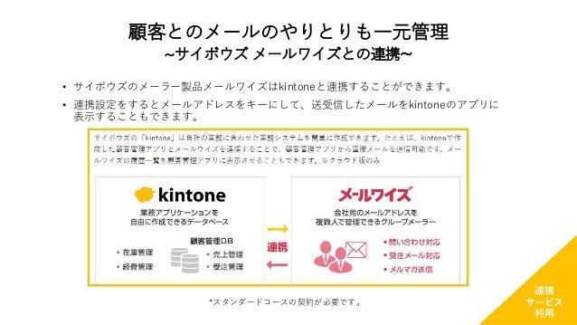 • サイボウズのメーラー製品メールワイズはkintoneと連携することができます。 • 連携設定をするとメールアドレスをキーにして、送受信したメールをkintoneのアプリに 表示することもできます。 *スタンダードコースの契約が必要です。 連...