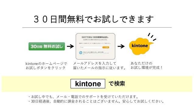 30日間無料でお試しできます kintoneのホームページで お試しボタンをクリック メールアドレスを入力して 届いたメールの指示に従います。 あなただけの お試し環境が完成! で検索kintone ・お試し中でも、メール・電話でのサポートを受...