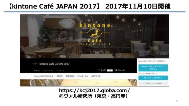 9 【kintone Café JAPAN 2017】 2017年11月10日開催 https://kcj2017.qloba.com/ @ヴァル研究所(東京・高円寺)