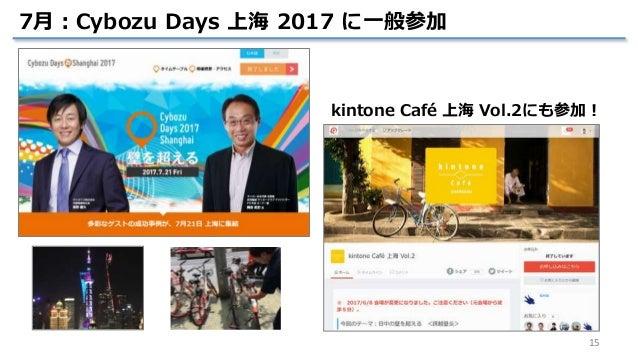 15 7月:Cybozu Days 上海 2017 に一般参加 kintone Café 上海 Vol.2にも参加!