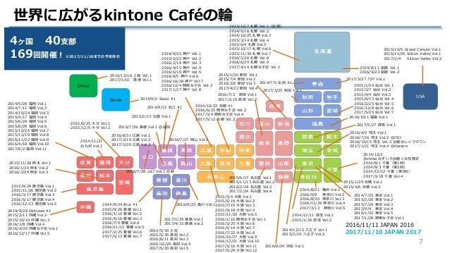 7 世界に広がるkintone Caféの輪2013/12/7 札幌 Vol.1(起源) 2014/5/16 札幌 Vol.2 2014/10/25 札幌 Vol.3 2015/3/14 札幌 Vol.4 2015/6/4 札幌 Vol.5 2...
