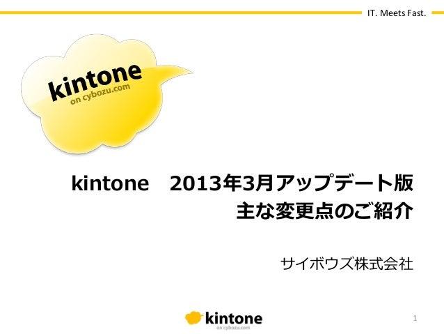 IT. Meets Fast.kintone 2013年年3⽉月アップデート版              主な変更更点のご紹介               サイボウズ株式会社                              ...