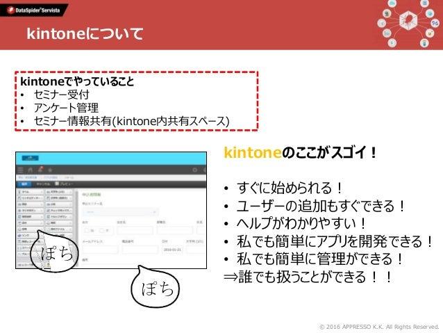 © 2016 APPRESSO K.K. All Rights Reserved. kintoneについて kintoneのここがスゴイ! • すぐに始められる! • ユーザーの追加もすぐできる! • ヘルプがわかりやすい! • 私でも簡単にア...