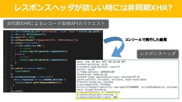 レスポンスヘッダが欲しい時には⾮同期XHR? ⾮同期XHRによるレコード取得APIのリクエスト コンソールで実行した結果 レスポンスヘッダ