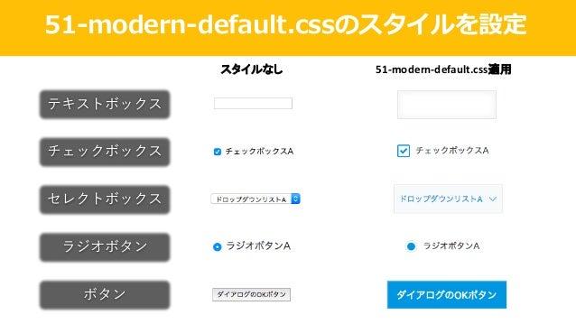 51-modern-default.cssのスタイルを設定 テキストボックス スタイルなし 51-modern-default.css適用 チェックボックス セレクトボックス ラジオボタン ボタン