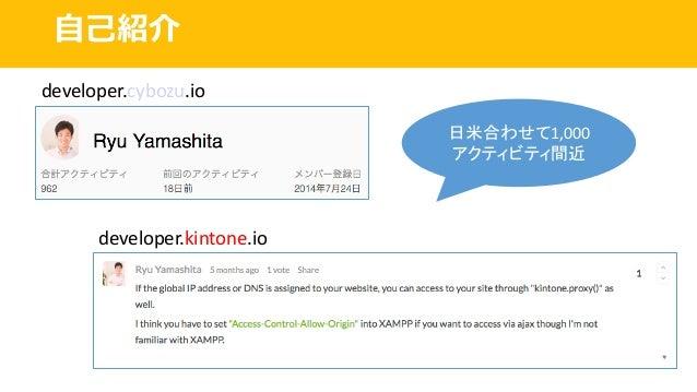 ⾃⼰紹介 developer.cybozu.io developer.kintone.io 日米合わせて1,000 アクティビティ間近