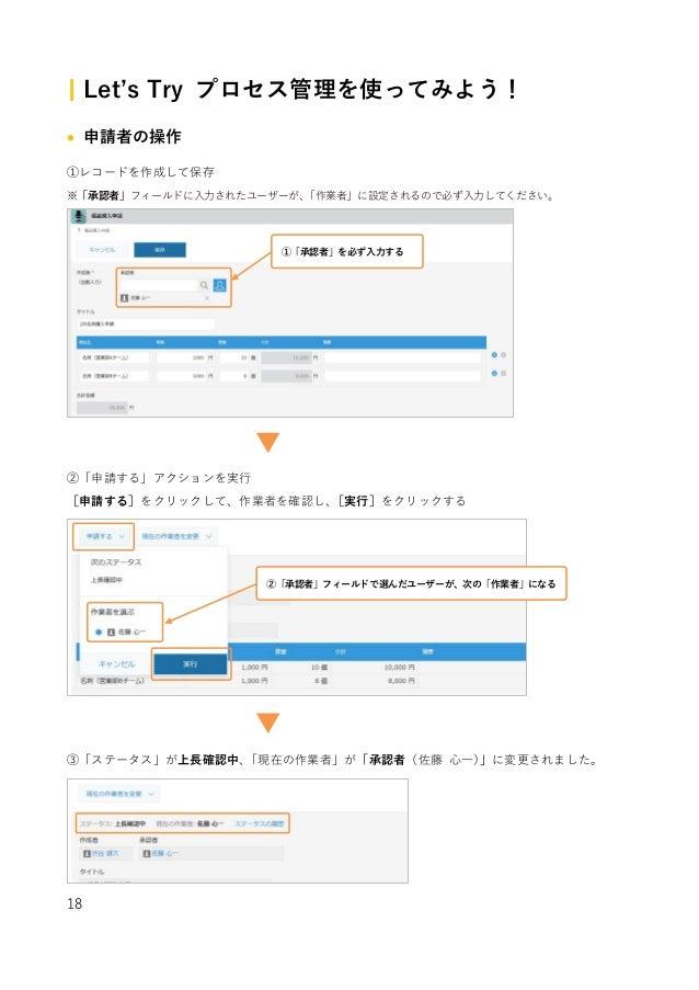 18 | Let's Try プロセス管理を使ってみよう! • 申請者の操作 ①レコードを作成して保存 ※「承認者」フィールドに⼊⼒されたユーザーが、「作業者」に設定されるので必ず⼊⼒してください。 ②「申請する」アクションを実⾏ [申請する]...