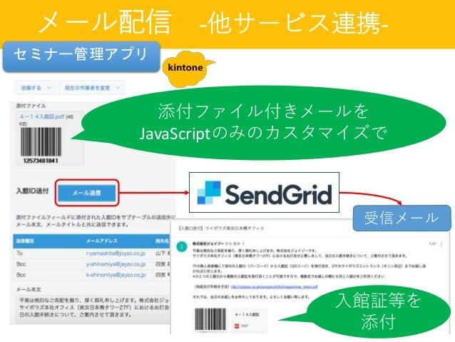 メール配信 -他サービス連携- 添付ファイル付きメールを JavaScriptのみのカスタマイズで 受信メール 入館証等を 添付 セミナー管理アプリ