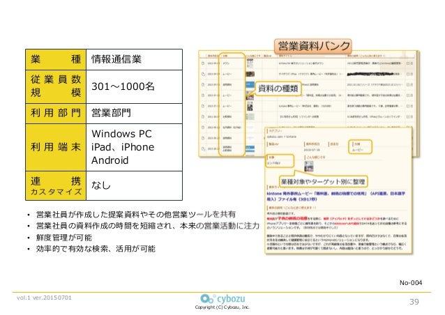 Copyright (C) Cybozu, Inc. vol.1 ver.20150701 業 種 情報通信業 従 業 員 数 規 模 301〜1000名 利 用 部 門 営業部門 利 用 端 末 Windows PC iPad、iPhone ...