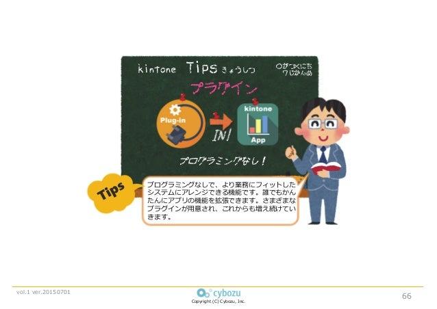 Copyright (C) Cybozu, Inc. vol.1 ver.20150701 ○がつ×にち 7じかんめ プラグイン プログラミングなし! kintone Tips きょうしつ IN! プログラミングなしで、より業務にフィットした ...