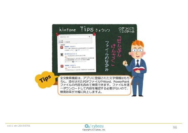 Copyright (C) Cybozu, Inc. vol.1 ver.20150701 ○がつ×にち 12じかんめ 「 ぜ ん ぶ ん け ん さ く 」 kintone Tips きょうしつ 全⽂検索機能は、アプリに登録された⽂字情報はも...
