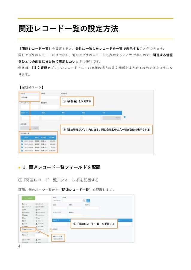 4 関連レコード一覧の設定方法 「関連レコード一覧」を設定すると、条件に一致したレコードを一覧で表示することができます。 同じアプリのレコードだけでなく、他のアプリのレコードも表示することができるので、関連する情報 をひとつの画面にまとめて表示...