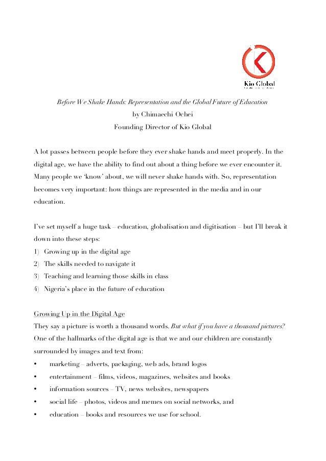 Before We Shake Hands: Representation and the Global Future of Educationby Chimaechi OcheiFounding Director of Kio GlobalA...