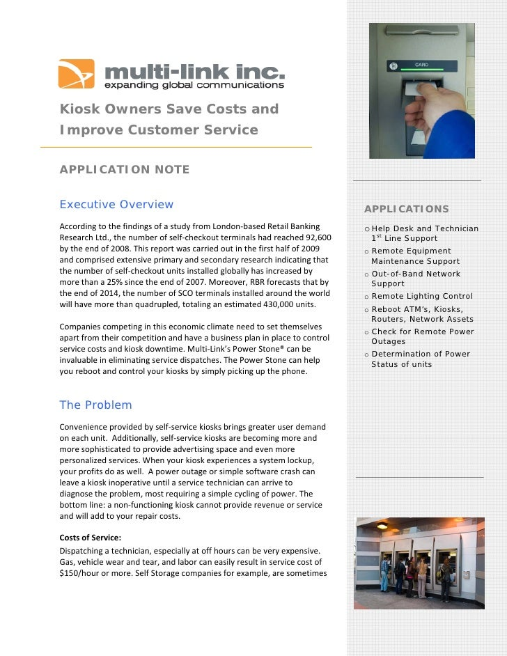 Kiosk Owners Save Costs and Improve Customer Service         APPLICATION NOTE  Executive Overview                  ...