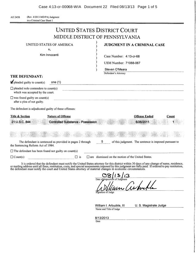Case 4:13-cr-00068-WIA Document 22 Filed 08/13/13 Page 1 of 5