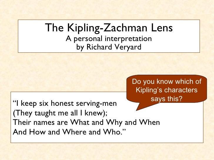 "The Kipling-Zachman Lens A personal interpretation by Richard Veryard <ul><li>"" I keep six honest serving-men (They taught..."