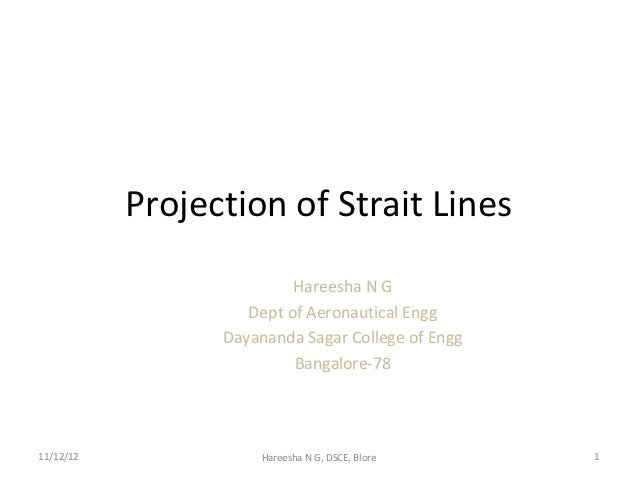 Projection of Strait Lines                          Hareesha N G                    Dept of Aeronautical Engg             ...