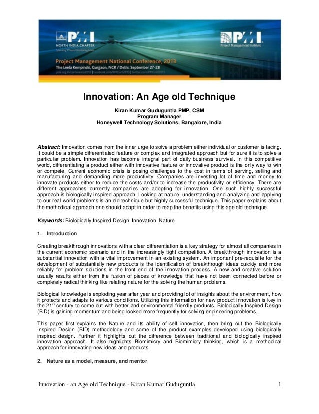 Innovation - an Age old Technique - Kiran Kumar Guduguntla 1 Innovation: An Age old Technique Kiran Kumar Guduguntla PMP, ...
