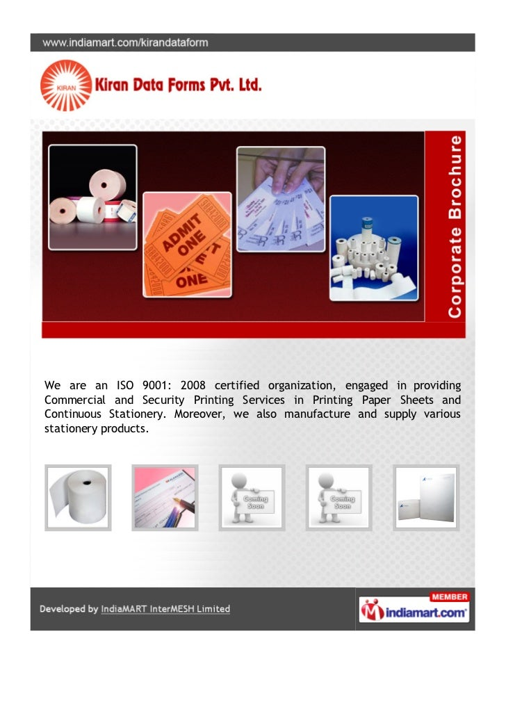 We are an ISO 9001: 2008 certified organization, engaged in providingCommercial and Security Printing Services in Printing...