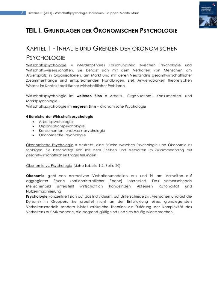 Kirchler (2011) Wirtschaftspsychologie. Individuen, Gruppen, Märkte, Staat - Zusammenfassung Slide 3