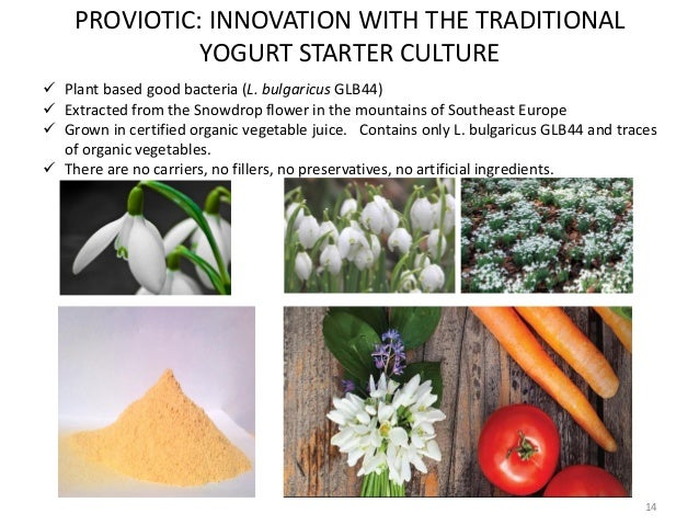 14 PROVIOTIC: INNOVATION WITH THE TRADITIONAL YOGURT STARTER CULTURE  Plant based good bacteria (L. bulgaricus GLB44)  E...