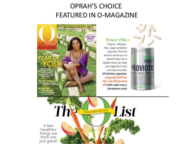 OPRAH'S CHOICE FEATURED IN O-MAGAZINE