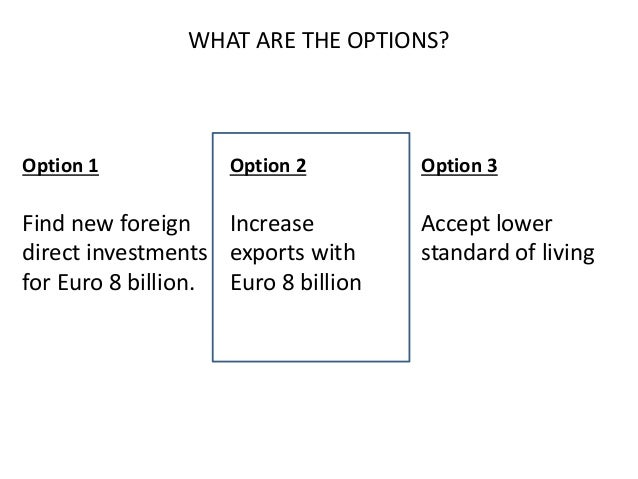 WHAT ARE THE OPTIONS? Option 1 Find new foreign direct investments for Euro 8 billion. Option 2 Increase exports with Euro...