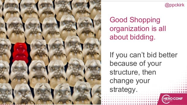 Good Shopping organization is all about bidding. If you can't bid better because of your structure, then change your strat...