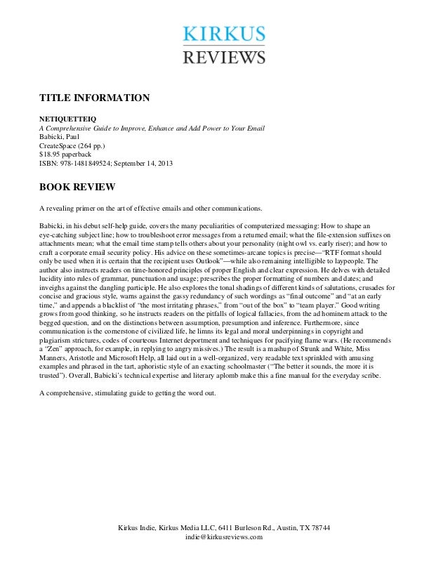 TITLE INFORMATION NETIQUETTEIQ A Comprehensive Guide to Improve, Enhance and Add Power to Your Email Babicki, Paul CreateS...