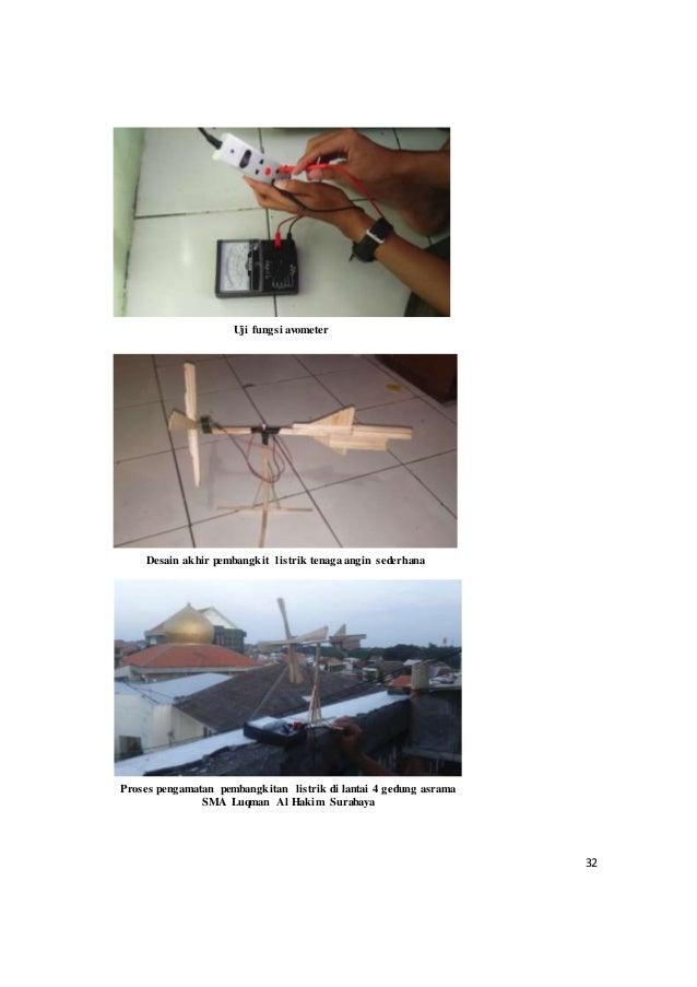 32 Uji fungsi avometer Desain akhir pembangkit listrik tenaga angin sederhana Proses pengamatan pembangkitan listrik di la...