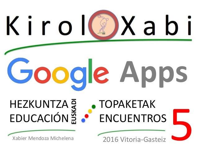 Apps HEZKUNTZA EDUCACIÓN EUSKADI TOPAKETAK ENCUENTROS 52016 Vitoria-GasteizXabier Mendoza Michelena