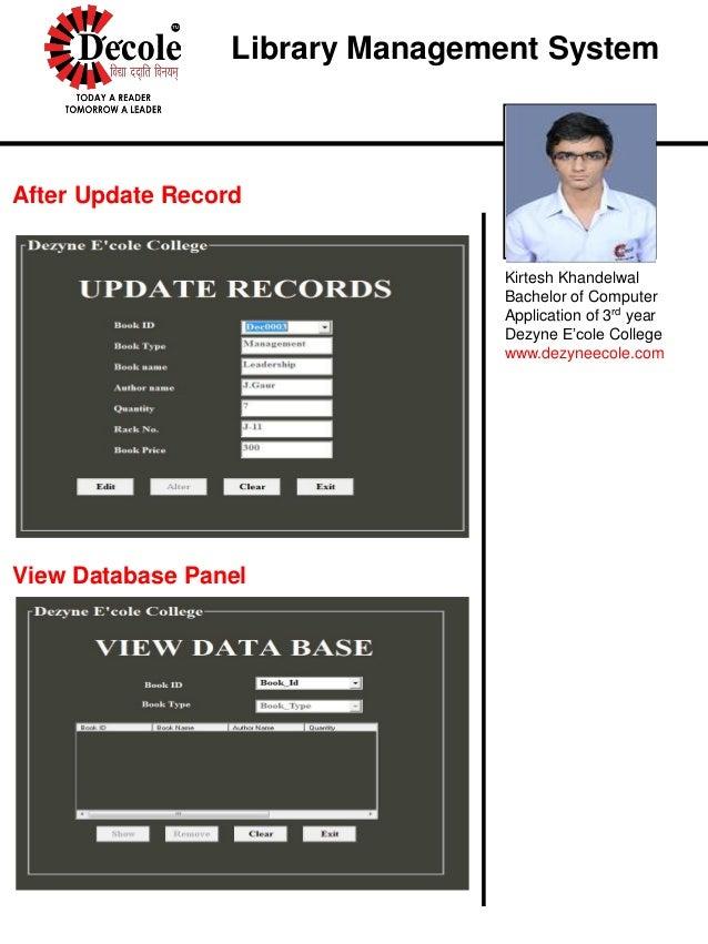 Kirtesh Khandelwal Project On Visual Basic Library Management Softwar