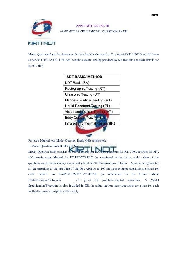 Ultrasonic Testing Level 3 Model Question Answer