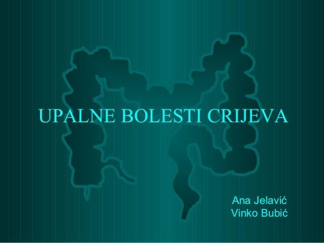 Ana Jelavić Vinko Bubić UPALNE BOLESTI CRIJEVA