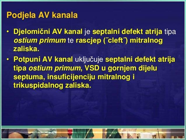 Podjela AV kanala • Djelomični AV kanal je septalni defekt atrija tipa ostium primum te rascjep (˝cleft˝) mitralnog zalisk...