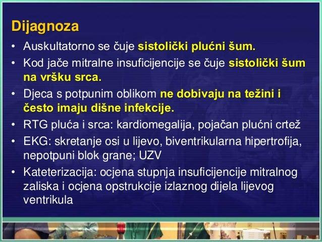 Dijagnoza • Auskultatorno se čuje sistolički plućni šum. • Kod jače mitralne insuficijencije se čuje sistolički šum na vrš...